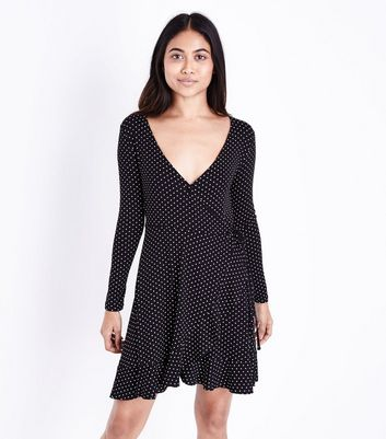 Petite Black Polka Dot Wrap Dress New Look