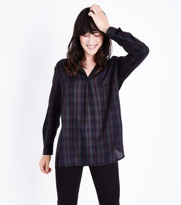 Green Check V Neck Overhead Shirt New Look