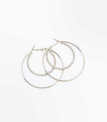 Silver Double Diamante Hoop Earrings New Look