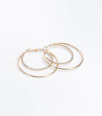 Gold Double Diamante Hoop Earrings New Look
