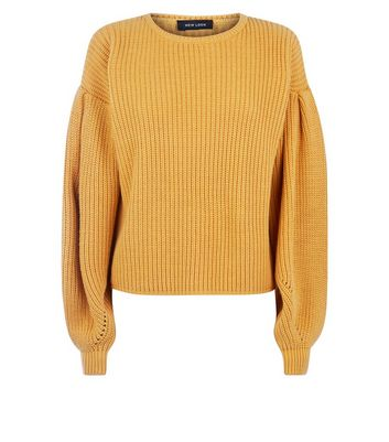 Mustard Yellow Balloon Sleeve Jumper New Look