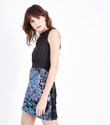 AX Paris Black 2 in 1 Sequin Skirt Dress New Look