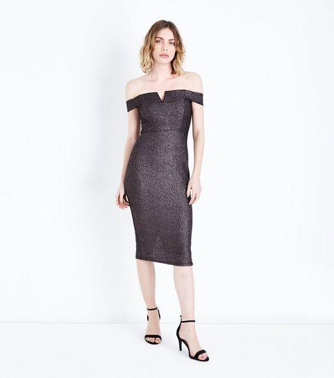 ... AX Paris - Robe mi-longue noire à paillettes et col Bardot ... 82dc6654114d