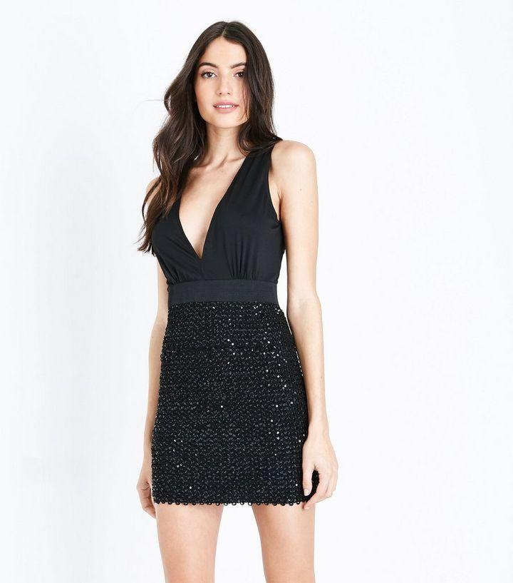 52852dcb576b AX Paris Black Sequin Embellished Wrap Front Dress | New Look
