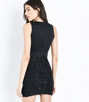 AX Paris Black Sequin Embellished Wrap Front Dress New Look