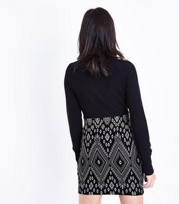 Black Jacquard Mini Skirt New Look