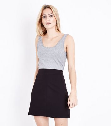 Black Ribbed Waist A-Line Mini Skirt New Look