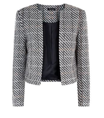 Black Herringbone Check Cropped Jacket New Look