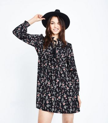 Black Floral Ladder and Tassel Trim Smock Dress New Look
