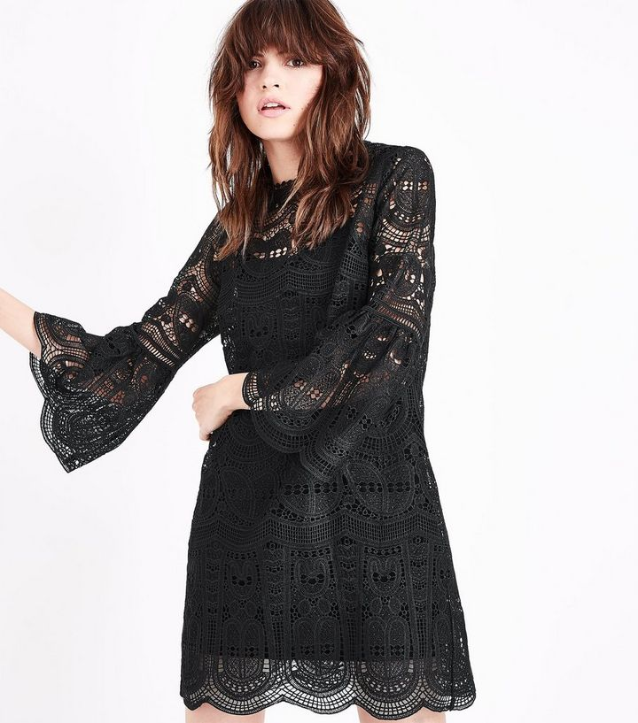 36834f4e02d Black Crochet Lace Bell Sleeve Mini Dress | New Look