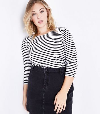 Curves Black Stripe Pocket Front T-Shirt New Look