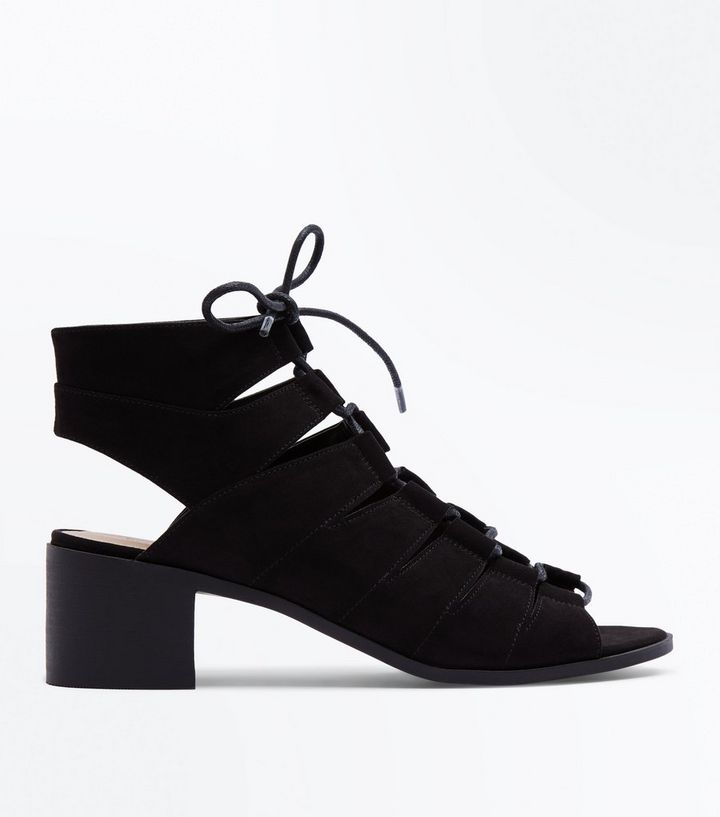 fa2b2cca4920 Black Suedette Low Block Heel Ghillie Sandals
