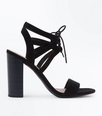 Black Suedette Lace Up Strap Heeled Sandals New Look