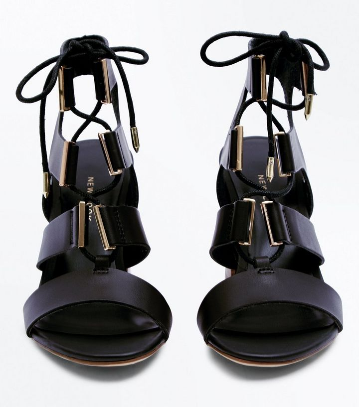 68801c952cf Black Lace Up Wooden Block Heel Sandals Add to Saved Items Remove from  Saved Items