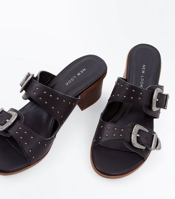 Black Studded Western Buckle Mules New Look
