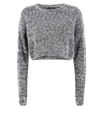 Black Marl Cropped Jumper New Look