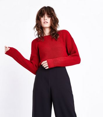 Red Cropped Jumper New Look