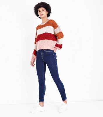 Red Colour Block Stripe Chunky Jumper New Look