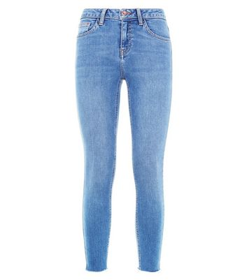Teens Blue Raw Hem Skinny Jeans New Look