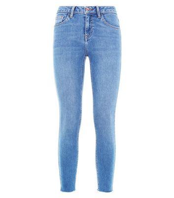 Teens Blue Raw Hem Skinny Jeans New Look