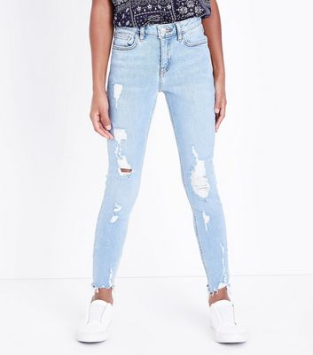 Teens Pale Blue Rippped Skinny Jeans New Look