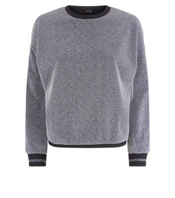 Silver Glitter Stripe Cuff Sweatshirt New Look