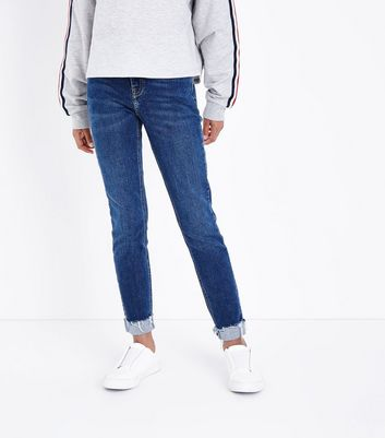 Teens Navy Turn Up Hem Skinny Jeans New Look