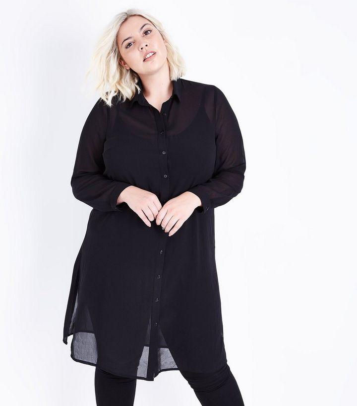 ac864bf8 Curves Black Extra Longline Chiffon Shirt   New Look