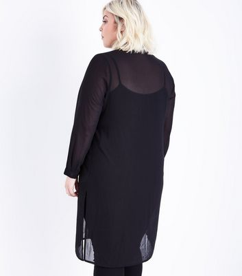 Curves Black Extra Longline Chiffon Shirt New Look