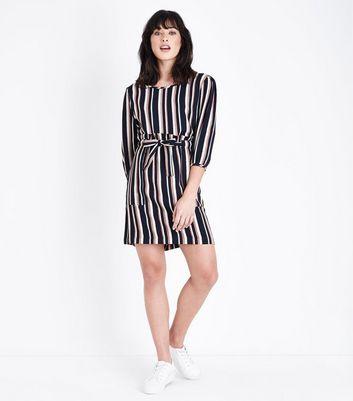 JDY Pink Stripe Paperbag Waist Skirt New Look