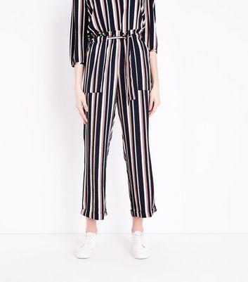 JDY Pink Stripe Paperbag Waist Trousers New Look