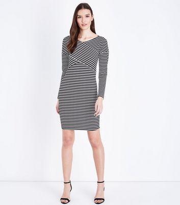 JDY Black Stripe Cross Front Long Sleeve Dress New Look