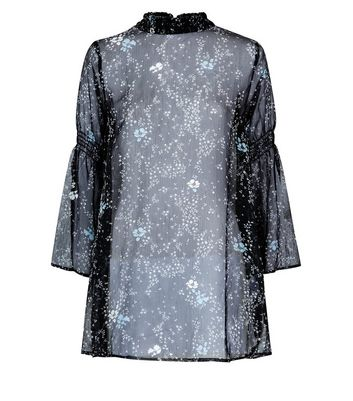 JDY Black Ditsy Floral Tunic Top New Look