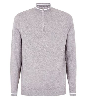 Grey Tipped Funnel Neck Jumper New Look