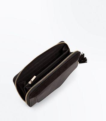 Black Tassel Zip Around Purse New Look