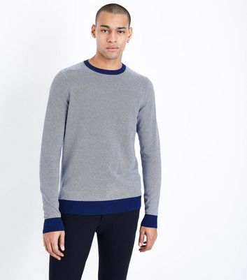 Blue Stripe Crew Neck Sweatshirt New Look