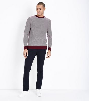 Burgundy Stripe Crew Neck Sweatshirt New Look