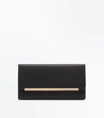 Black Diamante Gold Bar Front Foldover Purse New Look