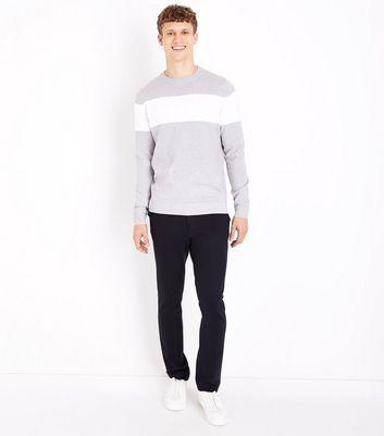 Pale Grey Colour Block Stripe Jumper New Look