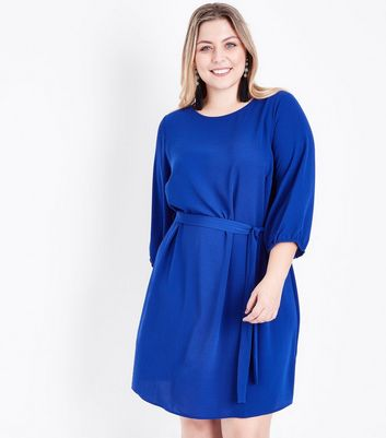 Curves Blue Balloon Sleeve Belted Tunic Dress New Look