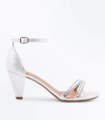 Girls Silver Glitter Diamanté Embellished Heels by New Look