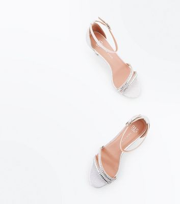 Teens Silver Glitter Diamante Embellished Heels New Look