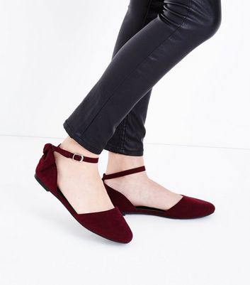 Teens Dark Red Suedette Bow Ankle Strap Pumps New Look