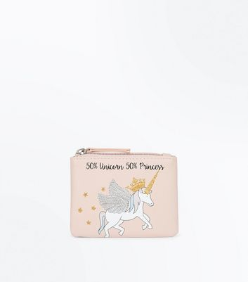 White Unicorn Princess Slogan Coin Purse New Look