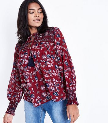 Petite Red Floral Shirred Tassel Front Blouse New Look