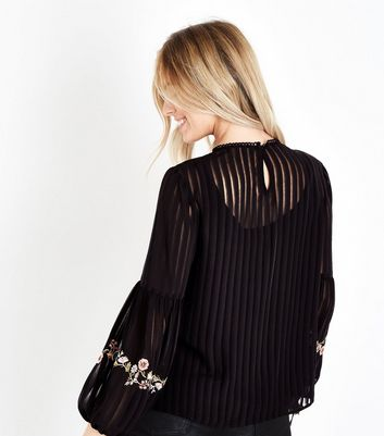 Petite Black Embroidered Tassel Balloon Sleeve Blouse New Look