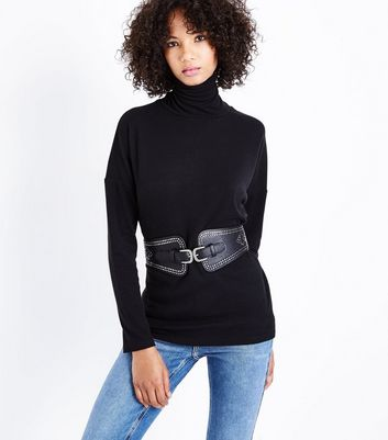 Black Studded Buckle Front Waist Belt New Look