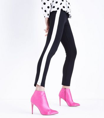 Cameo Rose Black Side Stripe Leggings New Look