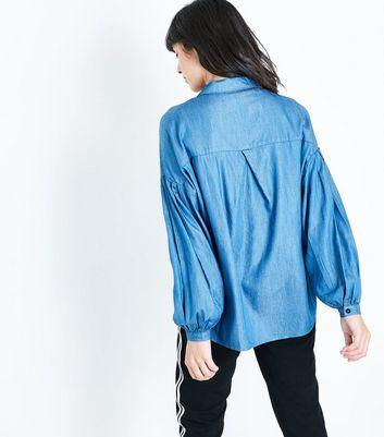 Blue Balloon Sleeve Denim Shirt New Look