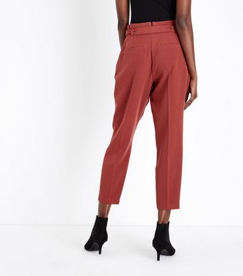 Rust Paperbag Waist Trousers New Look